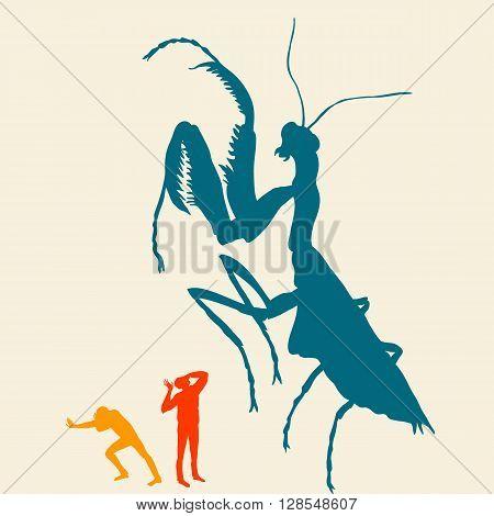 People run away from the praying mantis