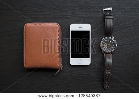 White Mobile Phone, Watch And Wallet