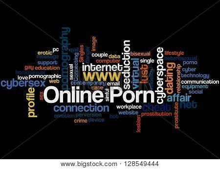 Online Porn word cloud concept on black background. poster