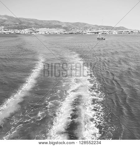 Froth And Foam Greece From The Boat  Islands In Mediterranean Sea  Sky