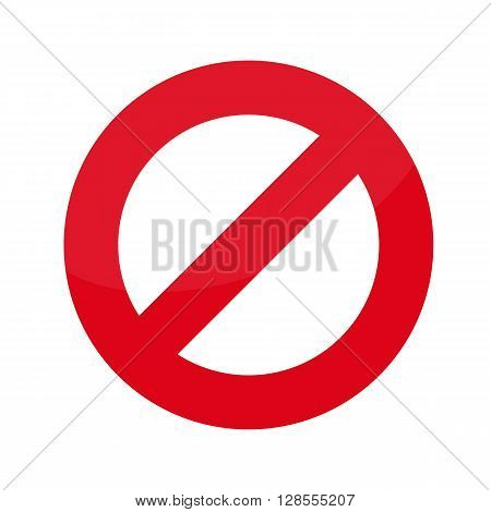 Flat icon prohibition. No allowed sign. Vector illustration.