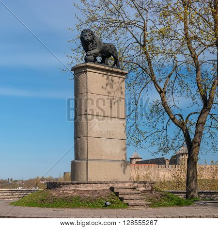 Narva Estonia - May 4 2016: Swedish Lion Monument. Dedicated to the Swedish and Russian soldiers who died in the Battle of Narva November 19 1700.