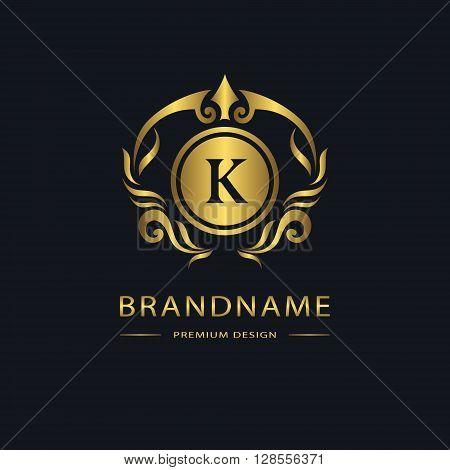 Vector illustration of Luxury Vintage logo. Business sign label. Gold Letter emblem K for badge crest Restaurant Royalty Boutique brand Hotel Heraldic Jewelery Fashion Real estate Resort tattoo Auctions