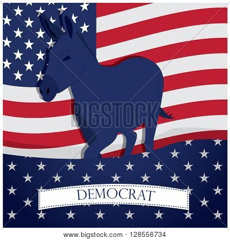 Colored background with the american flag a ribbon with text and the democrat symbol