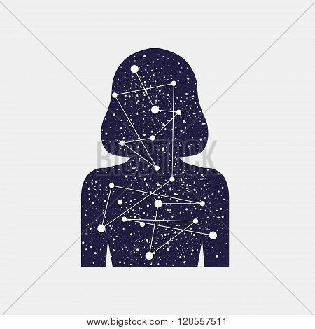 Vector illustration of Icon women. Inner world of man. Universe connection of the planets. Stellar scattering. Silhouette of a girl. Mind and senses information