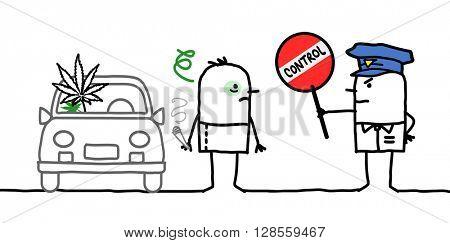 cartoon characters - police control - cannabis