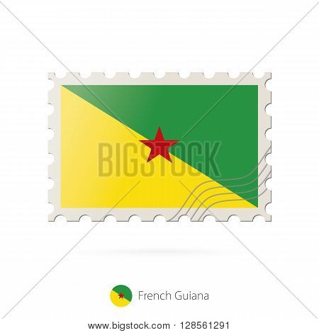 Postage Stamp With The Image Of French Guiana Flag.