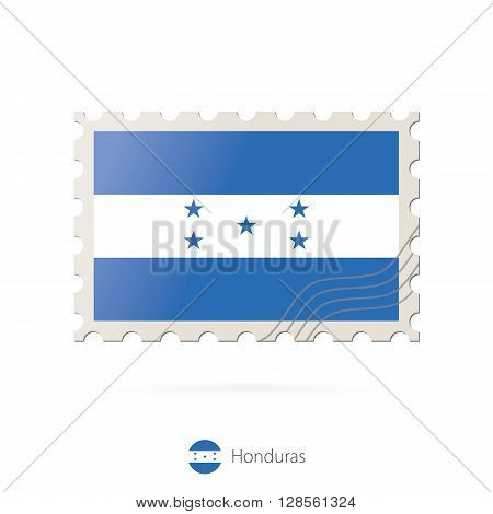Postage Stamp With The Image Of Honduras Flag.