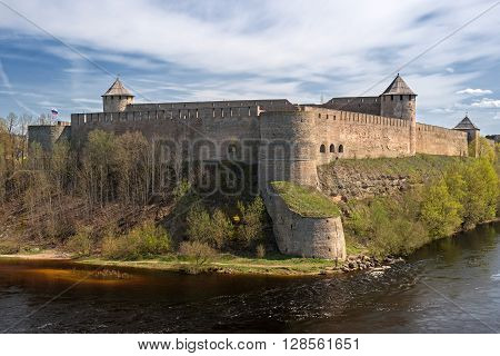 Ivangorod. ancient fortress at the border of Russia and Estonia. The Two Towers shares the Narva River. poster