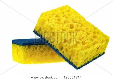 Two New Absorbent Sponge With Hardwearing Scourer Isolated On White