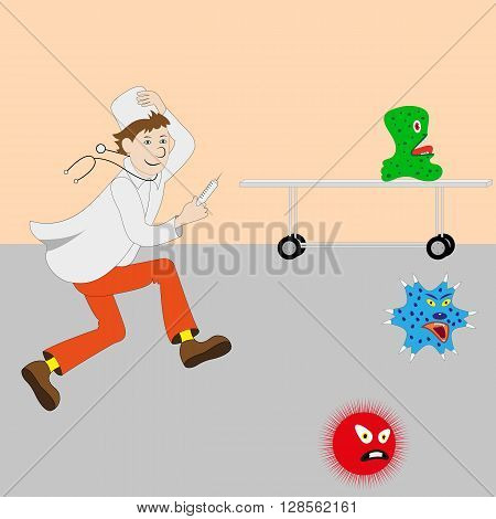 Vector illustration of cartoon cute doctor with a syringe running for germs, viruses, bacteria. Medical doctor in a white coat and a white cap.