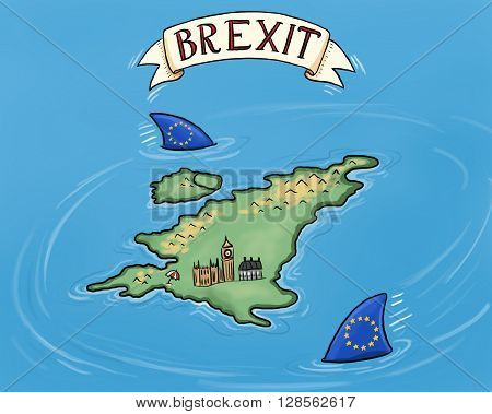 an illustration about Britain's attempt to leave the EU also known as 'Brexit'