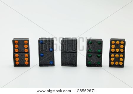 Stack Of Dominoes Isolated On A White Background