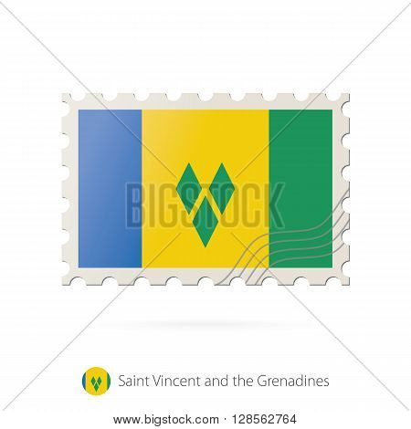 Postage Stamp With The Image Of Saint Vincent And The Grenadines Flag.