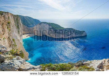Idyllic view of beautiful Navagio shipwreck  Beach on Zakynthos Island in Greece ultra high resolution 92 MP