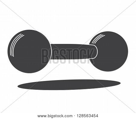 Monochrome cast iron dumbbell icon, vector illustration isolated on white