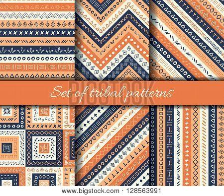 Set of vector tribal aztec seamless pattern. Ethnic tribal borders. Tribal elements isolated. Boho folk navajo frames. Tribal design poster