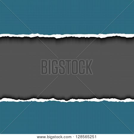 Ripped paper with ripped paper edges. Vector colorful torn paper background with white copyspace and torn paper edges.  Hole in paper on dark background.