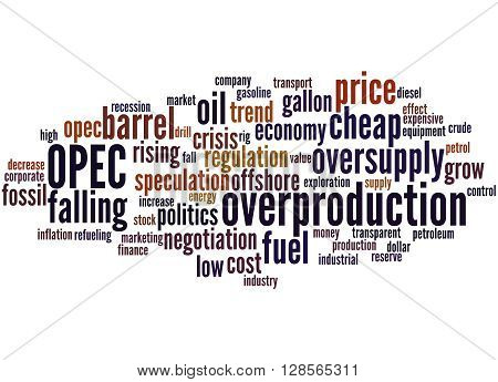 Opec Overproduction, Word Cloud Concept