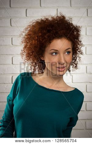 Portrait Of Red-haired Girl Coyly Looking Sideways, Studio Shot Against The Background Of A Brick Wa
