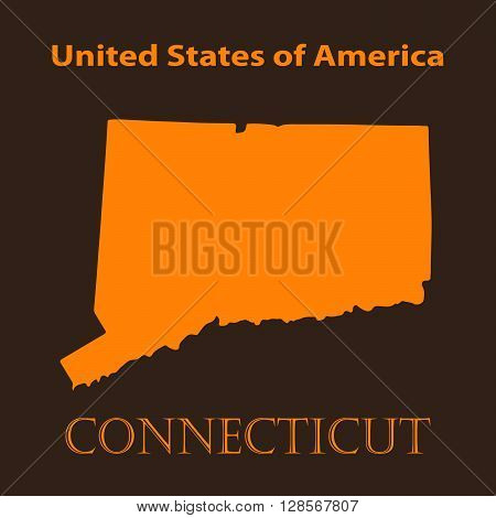 Orange Connecticut map - vector illustration. Simple flat map of Connecticut on a brown background.
