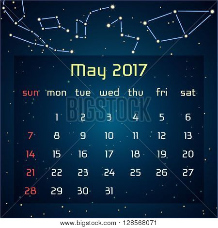 Vector calendar for 2017 in the space style. Calendar for the month of May with the image of the constellations in the night starry sky. Elements for creative design ideas of your calendar