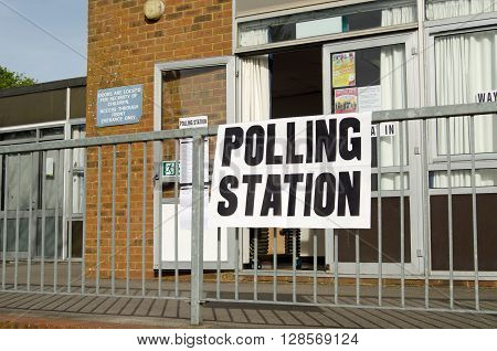 BASINGSTOKE UK - MAY 5 2016: Entrance to a polling station at a primary school in Basingstoke Hampshire on election day.