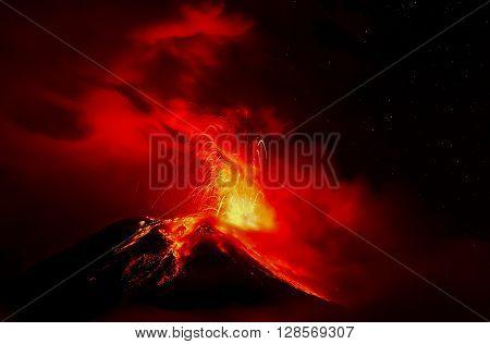Night Explosion Of Tungurahua Volcano Ecuador South America