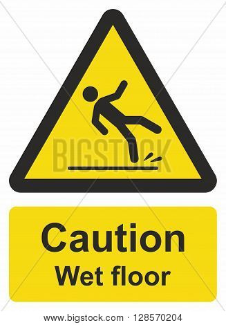 Caution wet floor sign, floor could be slippery