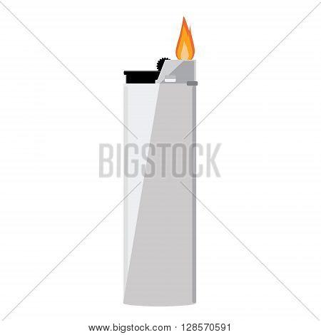 Vector illustration grey pocket lighter with fire. Lighter icon. Burning lighter. Modern fuel lighter