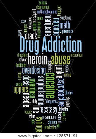Drug Addiction, Word Cloud Concept 5