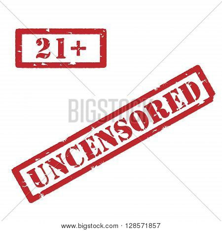 Vector illustration rectangle red under 21 twenty one stop sign. 18+ age restriction stamp. Uncensored stamp