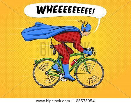 Superhero on a bicycle cartoon pop art vector illustration. Human comic book vintage retro style.