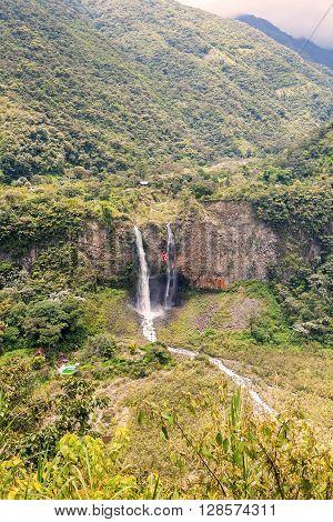 Manto De La Novia Bridal Veil Waterfall In Banos De Agua Santa Ecuador