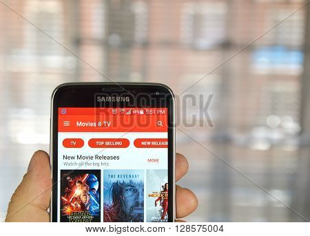 MONTREAL CANADA - APRIL 5 2016 : Google Play Movies and TV on Android phone. Google Play and originally the Android Market is a digital distribution platform operated by Google