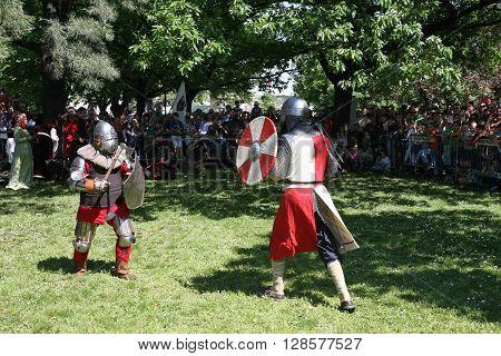BELGRADE, SERBIA - APRIL 23 Demonstration of medieval knight fighting at Belgrade Knight Fest held on 23 April in Belgrade Serbia