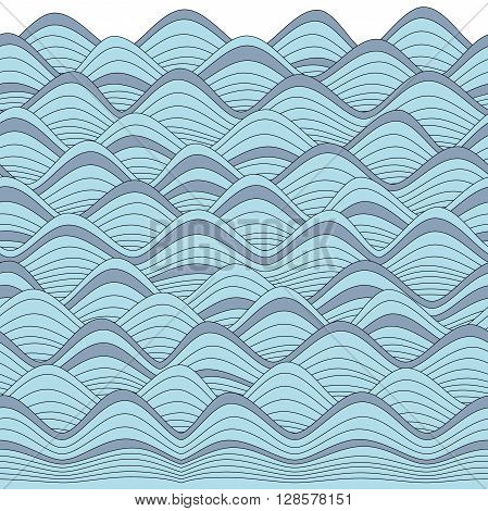 Repetable Graphic Waves Border, Can Be Used For Coloring