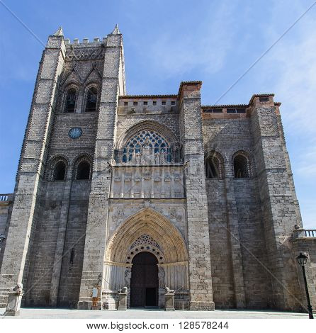 Facade Of Cathedral In Avila
