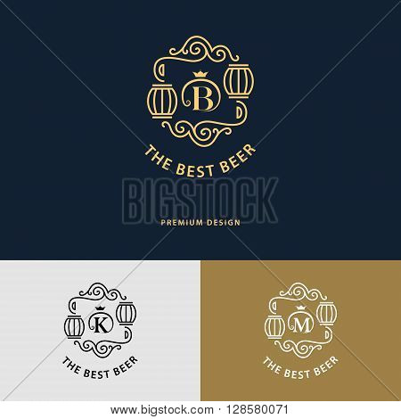 Vector illustration of Line graphics monogram. Logo design. Flourishes frame ornament template with barrel for labels emblems for beer house bar pub brewing company brewery tavern. Letter B K M