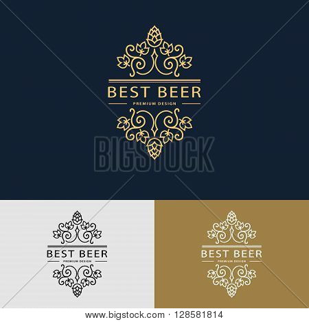 Vector illustration of Line graphics monogram. Logo design. Flourishes frame ornament template with hops and leaves for labels emblems for beer house bar pub brewing company brewery tavern