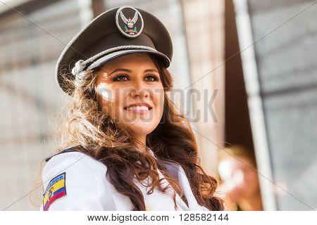 Banos De Agua Santa - 29 November, 2014 : Portrait Of Young Woman Wearing The Uniform Of Navy In Banos De Agua Santa On November 29, 2014