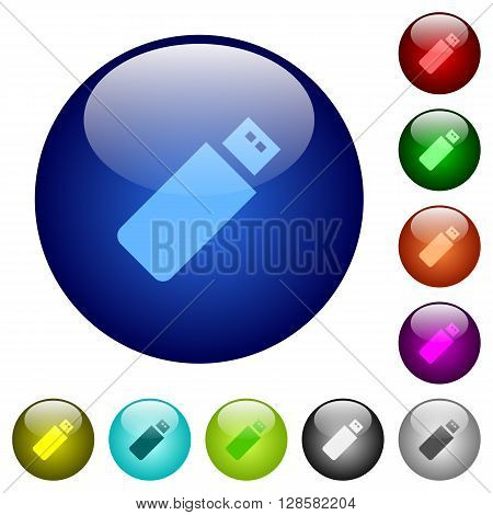 Set of color pendrive glass web buttons.