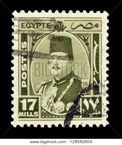EGYPT - CIRCA 1944 : Cancelled postage stamp printed by Egypt, that shows king Farouk.