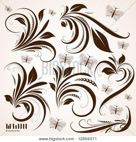 vector set: swirls - variety of handdrawn floral design elements