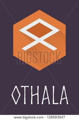 Othala rune of Elder Futhark in trend flat style. Old Norse Scandinavian rune. Germanic letter. Vector illustration.