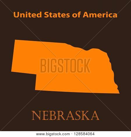 Orange Nebraska map - vector illustration. Simple flat map of Nebraska on a brown background.