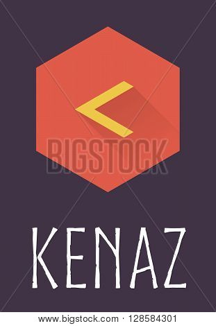 Kenaz rune of Elder Futhark in trend flat style. Old Norse Scandinavian rune. Germanic letter. Vector illustration.