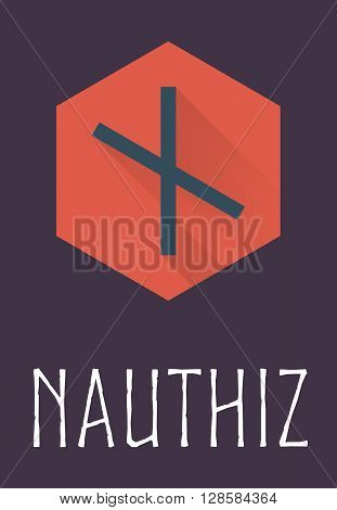 Nauthiz rune of Elder Futhark in trend flat style. Old Norse Scandinavian rune. Germanic letter. Vector illustration.