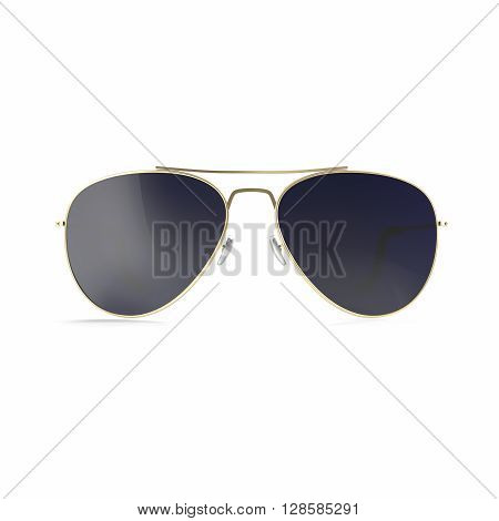 Sunglasses dark black sunglasses isolated on white background. 3d illustration
