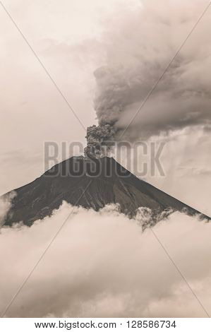 Tungurahua Volcano Spews Molten Rocks And Column Of Gas And Ash Near Banos De Agua Santa Ecuador February 2016 South America
